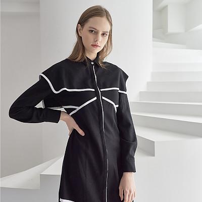 [프릭스 김태훈] FREAKS KIMTAEHOON 19FW 케이프 울 100% 셔츠 드레스 Cape Wool 100% Shirts-Dress_JET BLACK