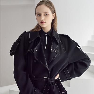 [프릭스 김태훈] FREAKS KIMTAEHOON 19FW 유니섹스 울 오버사이즈 트렌치 코트 Unisex Wool Oversize Trench Coat_BK