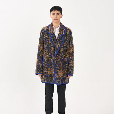 [프릭스 김태훈] FREAKS KIMTAEHOON 19FW [M]유니섹스 이태리 울 니트 콤비 오버사이즈 하프코트 Unisex ITALY WOOL Knit Combi Oversize Coat_BLUE