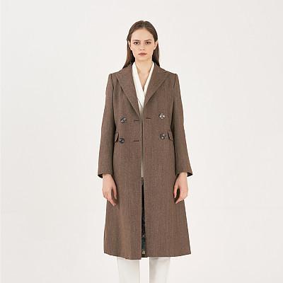 [프릭스 김태훈] FREAKS KIMTAEHOON 19FW 클랙식 픽업라펠 더블브레스트 울 코트 Classical Peaked-up Lapel Double Breasted Wool COAT_HERRINGBONE-BEIGE