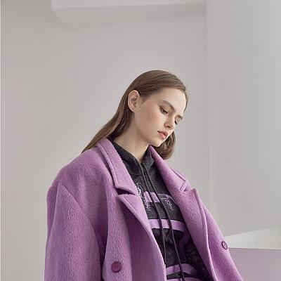 [프릭스 김태훈] FREAKS KIMTAEHOON 19FW 유니섹스 하운즈투쓰 알파카 콤비 오버사이즈 하프코트 SURI-ALPACA Contemporary Tailored Loose Fit Long Jacket_LILAC BREEZE