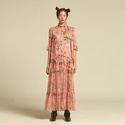 [에스와이지] 이솝 프린트 쉬폰 롱드레스 핑크